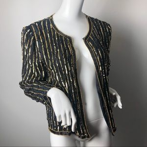 Vintage Black & Gold 80's sequin jacket formal 1X
